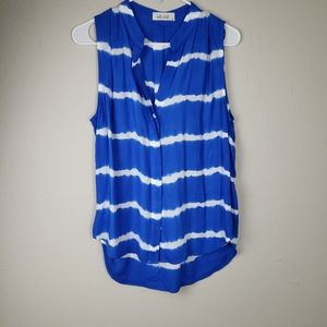 Bella Dahl Blue & White Tie Dye Sleeveless Top M